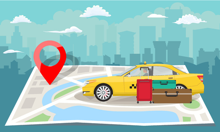 Yellow taxi with bags and red pin over folded map with cityscape silhouette background. Flat Vector illustration.