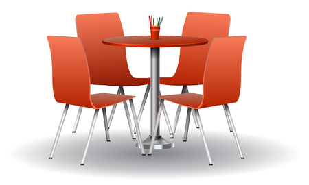 Red color Modern round table with chairs. High detailed vector illustration.