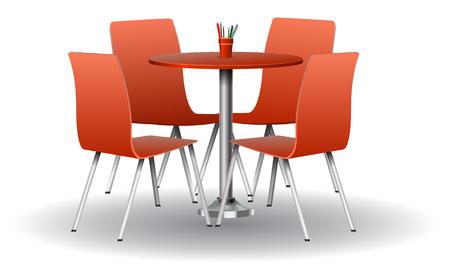 Rote Farbe Moderner runder Tisch mit Stühlen. Hohe detaillierte Vektorillustration.