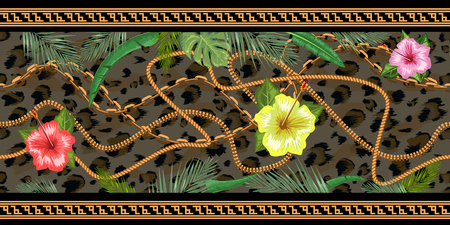 Horizontal chains seamless with tropical flowers and leopard skin. Horizontal seamless border. Vector illustration. Banque d'images - 120216916