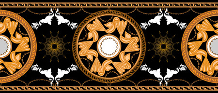 Horizontal seamless with Golden baroque and round ornament elements black color. Bird symbol. High detailed Vector illustration.