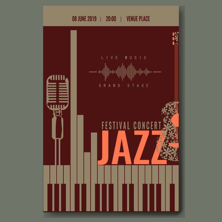 Jazz festival concert poster template design with vintage retro mike silhouette and piano keyboard and flower guitar. Trendy color vector illustration. Illustration