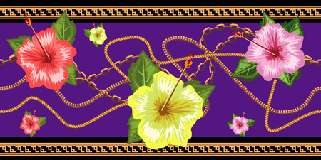 Cadenas horizontales sin costuras con flores tropicales. Frontera sin costuras horizontal. Ilustración vectorial de moda.