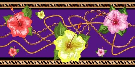 Catene orizzontali senza cuciture con fiori tropicali. Bordo orizzontale senza soluzione di continuità. Illustrazione vettoriale alla moda.