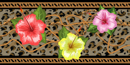 Horizontal chains seamless with tropical flowers and leopard skin. Horizontal seamless border. Trendy vector illustration. Stock Illustratie