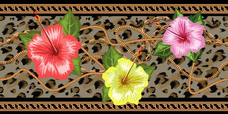 Horizontale kettingen naadloos met tropische bloemen en luipaardvel. Horizontale naadloze rand. Trendy vectorillustratie.