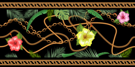 Horizontal chains seamless with tropical flowers. Horizontal seamless border. Trendy vector illustration.