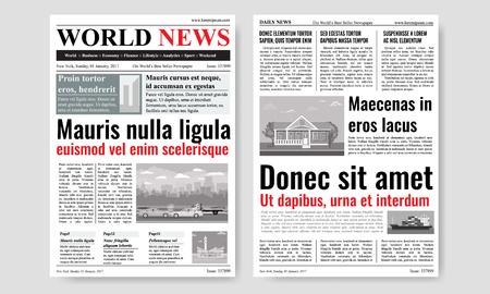 Diseño de plantilla de periódico con imágenes. Maqueta de dos páginas. Ilustración vectorial.