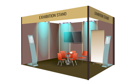 Exhibition stand display design with table and chair, info board. Commercial exhibition Booth template for Corporate identity. Vector illustration. Vector Illustration