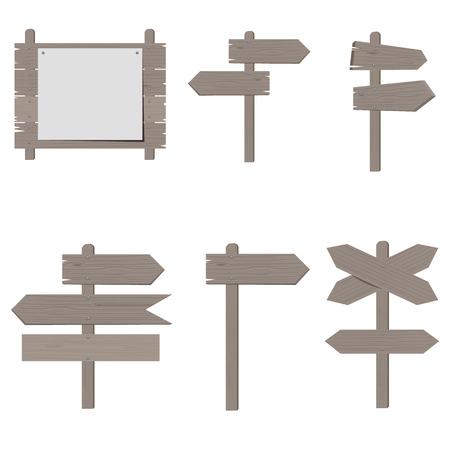 Wooden signboards, wood arrow sign set. Flat color style design vector illustration.