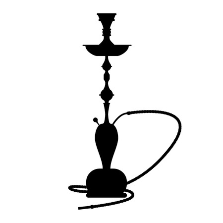 Hookah symbol in black. Hookah concept sign. Hand drawn vector illustration.