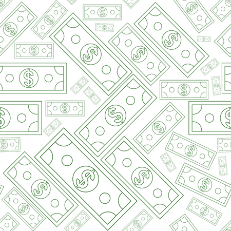 Dollars money seamless background texture with line art style. Vector illustration. Иллюстрация