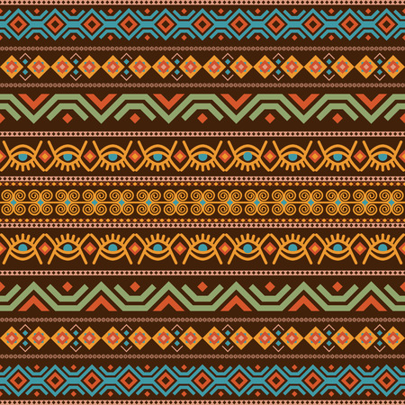 African seamless with adinkra symbols. Antique historical pattern. Vector illustration. Illusztráció