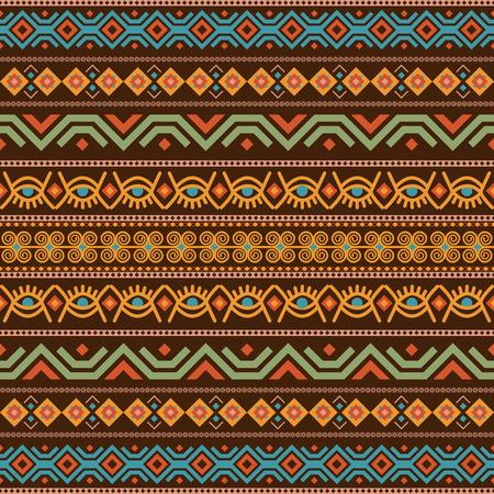 Afrikanisch nahtlos mit Adinkra-Symbolen. Antikes historisches Muster. Vektor-Illustration. Vektorgrafik