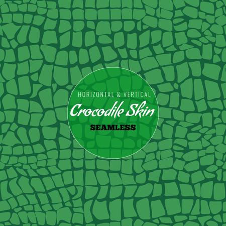 Reticolo senza giunte della pelle di alligatore. Texture della pelle di coccodrillo per il design tessile. Illustrazione di vettore di stile di colore piatto.