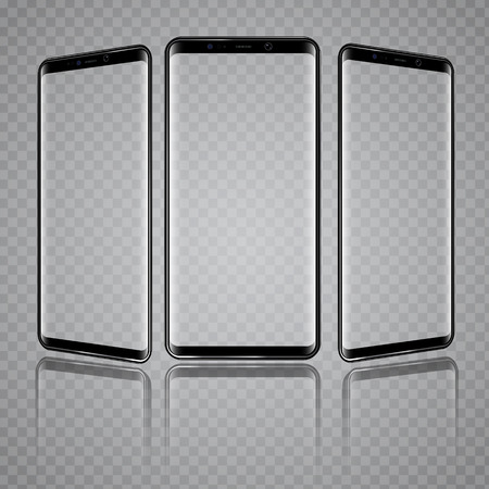 Modern Smartphone with different angles of view and Transparent Screens. High detailed vector illustration. Illustration