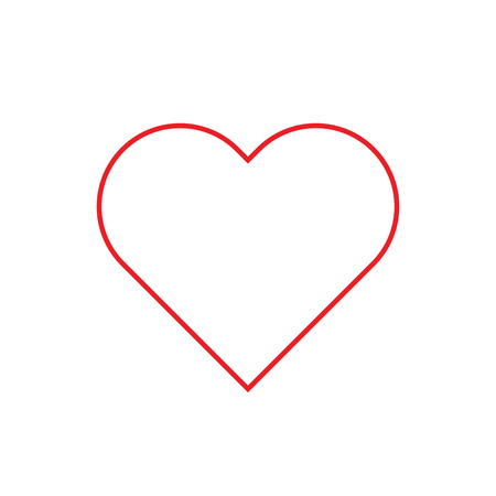Heart Red outline flat style Icon. Vector illustration.
