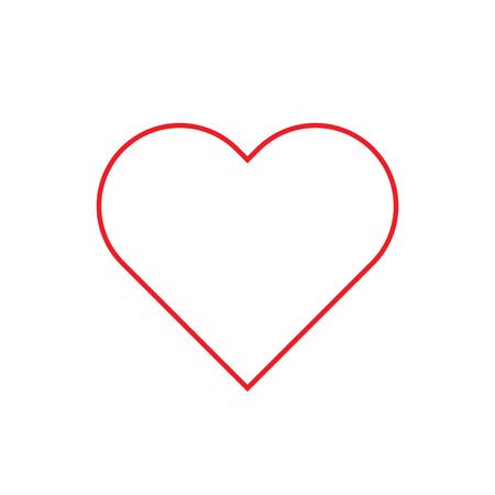 Icona di stile piatto di contorno rosso del cuore. Illustrazione vettoriale.