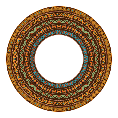 African round mandala with adinkra symbols. Antique historical pattern. Vector illustration.