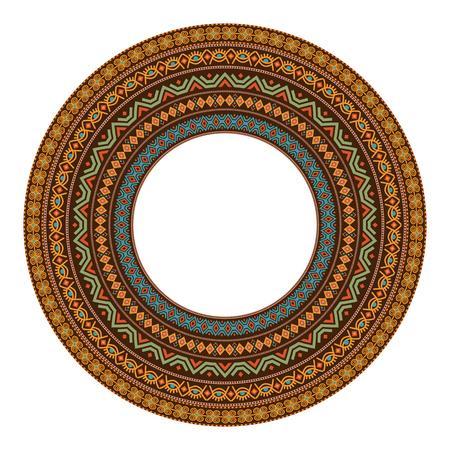 African round mandala with adinkra symbols. Antique historical pattern. Vector illustration.
