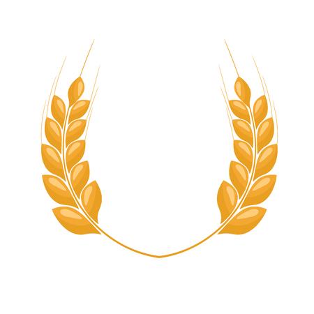 Paddy Wheat Ohren Lorbeer-Stil für Logo oder Symbol. Flache Farbstil-Design-Vektor-Illustration.