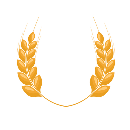 Paddy Wheat ears laurel style for logo or symbol. Flat color style design vector illustration.