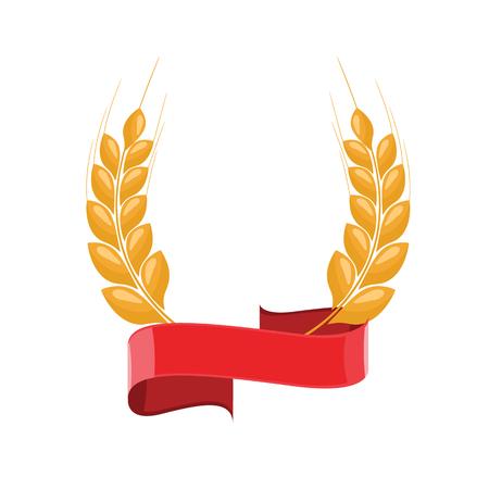 Paddy-Weizenohren-Lorbeer-Stil für Logo oder Symbol mit rotem Band. Flache Farbstil-Design-Vektor-Illustration. Logo