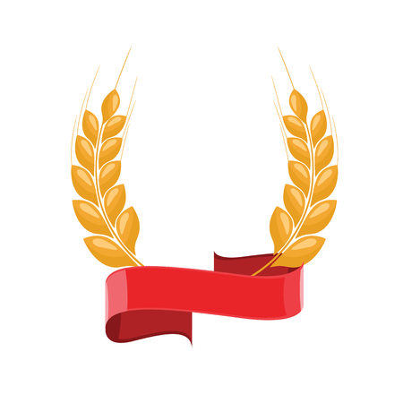 Paddy Wheat ears laurel style for logo or symbol with red ribbon. Flat color style design vector illustration.