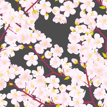 Cherry blossom seamless pattern. Textile or fabric concept Japanese flowering texture. High detailed flat color style vector illustration.