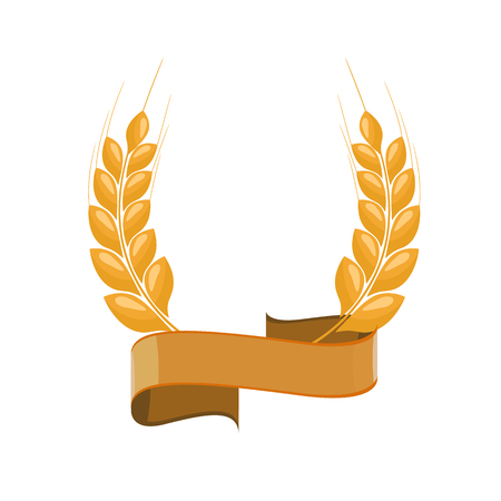 Paddy-Weizenohren-Lorbeer-Stil für Logo oder Symbol mit goldenem Band. Flache Farbstil-Design-Vektor-Illustration.