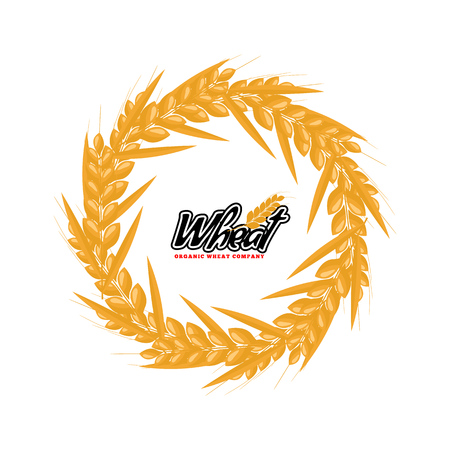 Wheat logo design with circle or round shape geometrical style. Flat design vector illustration. 向量圖像