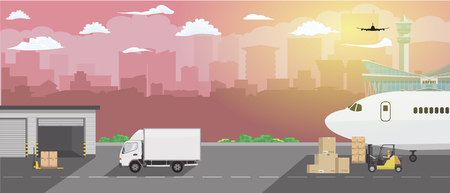 Modern creative delivery and shipping logistics service in business and freight cargo concept illustration. Flat and high detailed Vector.