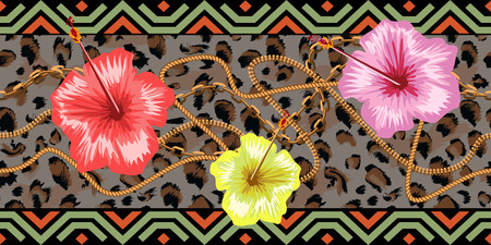 Horizontal chains seamless with tropical flowers and leopard skin. Horizontal seamless border. Trendy vector illustration. Illustration