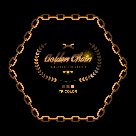 Golden Chain Border Frame. Border in gold color for Jewelry Design. Flat and solid color style vector illustration. 矢量图像