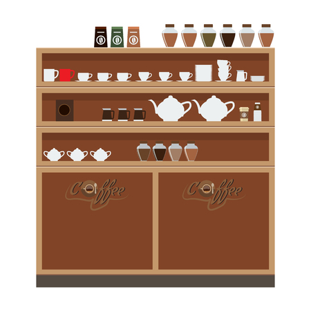 Closet wardrobe in cafe or restaurant with cup and teapot on it. Flat color Vector illustration.