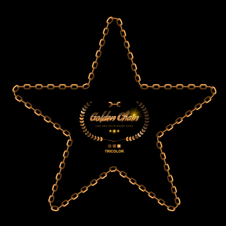 Star in Golden Chain Border. Flat color style vector illustration.