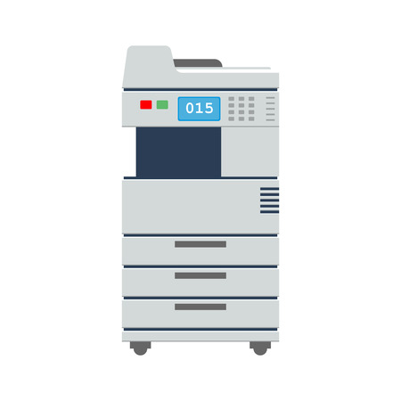 Big Office Multi-function Printer scanner or copier. Office printer icon. High detailed flat color vector illustration. 矢量图像