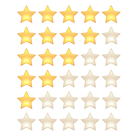 5 star rating template. Shining 3d realistic stars for your app. High detailed vector illustration.