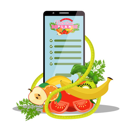 Smartphone with app of diet plan on screen and dietic fruits, vegetables, measuring tape beside it. Vector illustration. Ilustracja