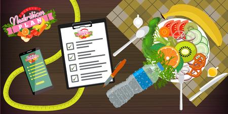 Modèle de bannière de concept de nourriture, d'alimentation, de mode de vie sain et de perte de poids. Un plat de salade, smartphone et plan diététique. Illustration vectorielle. Vecteurs
