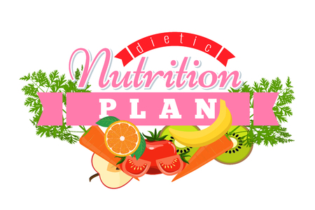 Nutrition plan logo. Badge Symbol label for Diet concept. Flat design vector illustration.