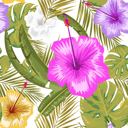 Exotic abstract vector jungle or tropical leaf and flower seamless pattern. Water color style vector illustration. Green leaf and white background.