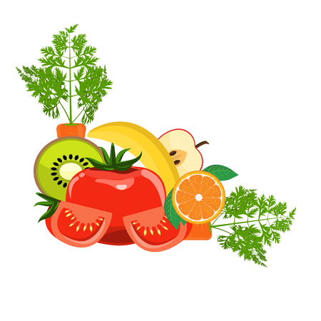 Group of Organic Fresh Vegetables and Fruits for Healthy Food concept. Corner border for your design. Vector illustration. Çizim