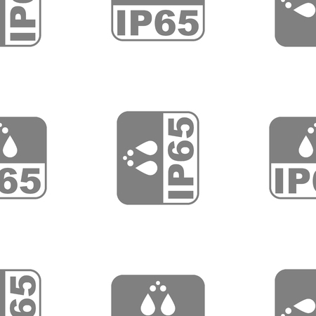 IP65 protection certificate standard icon seamless. Water and dust or solids resistant protected symbol. Vector illustration. Çizim
