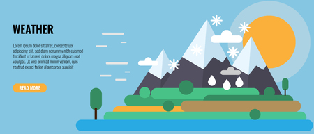 Four seasons in one Landscape. Winter, snow, spring, rain, autumn, summer, wind and sunny weather on Mountain. Vector illustration.