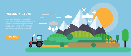 Flat Design mountain and farm meadow Landscape and Tractor. Flat and solid color style vector illustration. Ilustrace