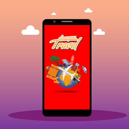 Order travel or vacation ticket concept online with smartphone screen mock up. Vector illustration.