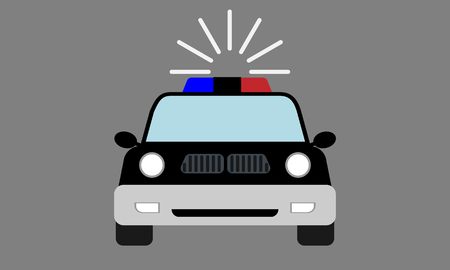 Modern police Car emoji with front view. Cartoon style vector illustration.