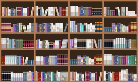 Grand Library book shelf. Flat and solid color style vector illustration.