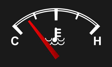 Car engine temperature gauge. Hot and cold symbols. High detailed vector illustration.